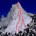 Cathedral Peak - Southeast Buttress 5.6 - Tuolumne Meadows, California USA. Click for details.