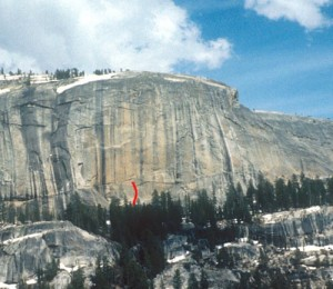Medlicott Dome, Right - Big Time 5.11b - Tuolumne Meadows, California USA. Click to Enlarge