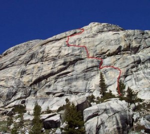 Mountaineers Dome - American Wet Dream 5.10b R - Tuolumne Meadows, California USA. Click to Enlarge