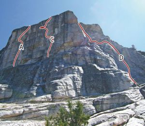 West Cottage Dome - Cottage Cheese 5.10b - Tuolumne Meadows, California USA. Click to Enlarge