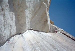 Andrea on the crux pitch.