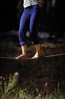Roberta's feet on the line