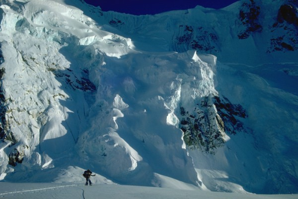 Icefall on the face of the Huntington/Rooster Comb Col