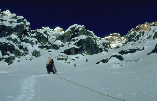 Heading up the entrance gully