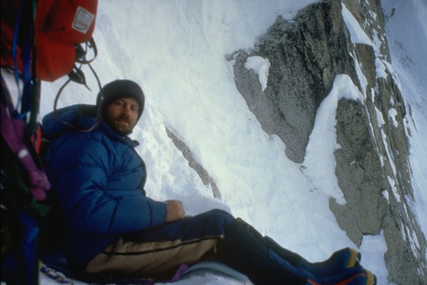 Leigh Anderson at the sitting bivy