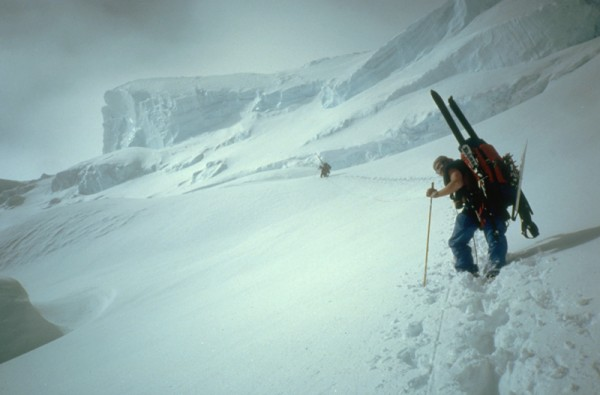 Climbing over the South Buttress of Denali