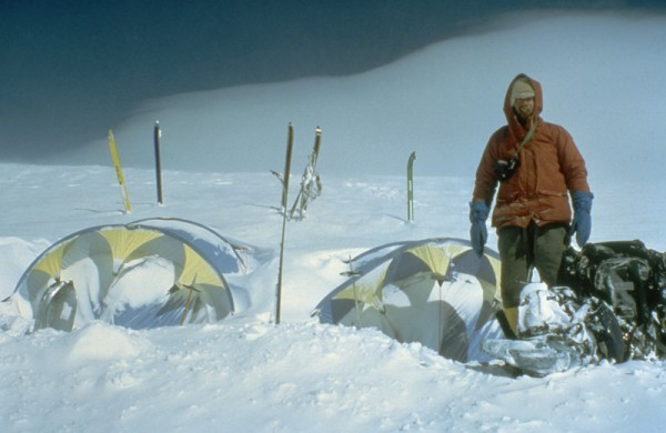 Jeff Thomas getting ready to dig out the tents