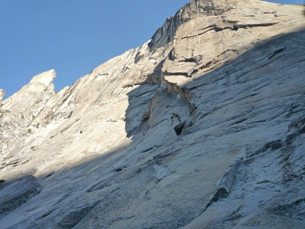 Looking up at the base of the South Face route from the bivy on top of...
