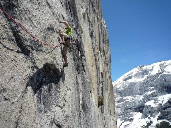 Tommy starting up the dyno pitch on the South Face of Mt. Watkins, Yos...