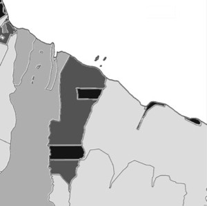 white = ocean; light grey = state owned land; medium grey = bishop est...