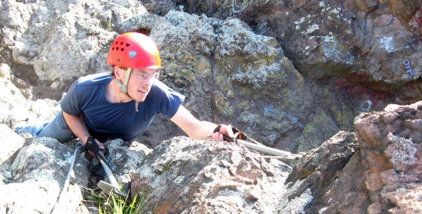 Drytooling at Skull Rock. I highly recommend wearing gloves when doing...