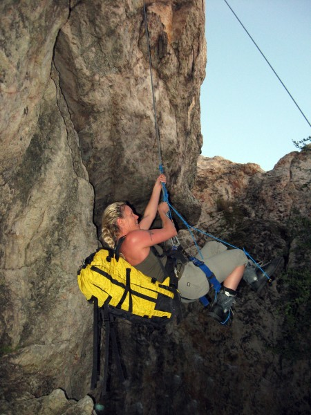 Pinar learning the value of pre-rigging a heavy pack to be shed in the...